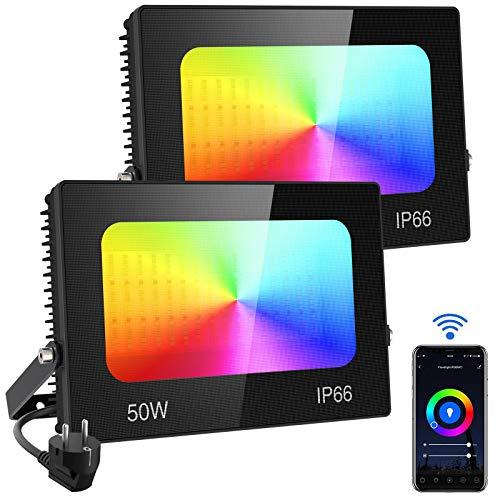 Olafus 2 x 50W RGB LED Strahler Smart, LED Fluter WiFi, Außenstrahler Kompatibel mit Alexa Google Home, Farbewechsel 16 Mio. Farben, Gartenstrahler IP66 Wasserdicht Timer Musik Dimmbar App Control