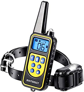 Bark Collar for Dogs,Dog Training Collar, Rechargeable Dog Shock Collar with Remote,IPX7 Waterproof Rechargeable Shock Col...