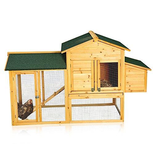 Melko Hühnerhaus mit Auslauf für 4-6 Hühner Hühnerstall 168x75x103 cm Kükenstall Hühnervoliere inkl. Nistkasten mit Deckelhalterung, wetterfest da imprägniert