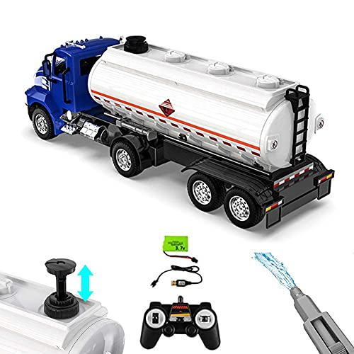 FXQIN 2,4 GHz Maßstab 1:16 RC Tanklastwagen Trettraktor Elektrischer Tanker LKW mit Akku, Fernbedienung Sattelschlepper und Anhänger für Erwachsene & Kinder Baufahrzeug