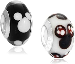 Set of 2 Mouse Heads Murano Glass Charm Bead