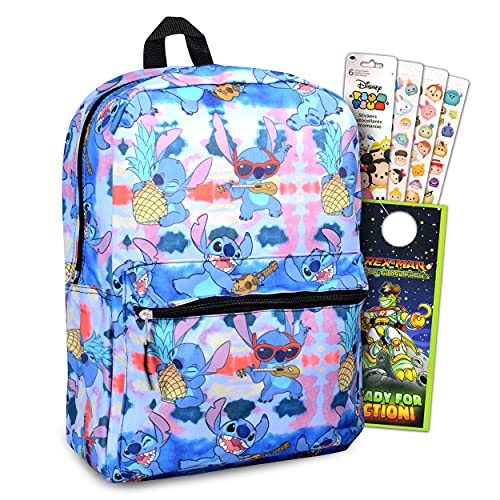 Disney Lilo And Stitch School Backpack For Kids ~ 3 Pc Bundle With 16' Stitch School Bag, Tsum Tsum Stickers, And Door Hanger For Boys And Girls | Stitch School Supplies Set