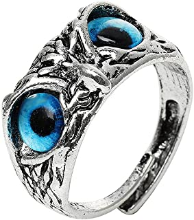 Demon Silver Owl Eye Ring Vintage Ring For Women Girl Lovers Retro Animal Style Open Adjustable Ring Statement Ring Jewelr...