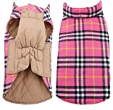 Morezi Cozy Waterproof Windproof Reversible British style Plaid Dog Vest Winter Coat Warm Dog Apparel for Cold Weather Dog Jacket for Double sided available - S - Pink