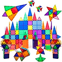 PicassoTiles 100 Piece Set 100pcs Magnet Building Tiles Clear Magnetic 3D Building Blocks Construction Playboards,...