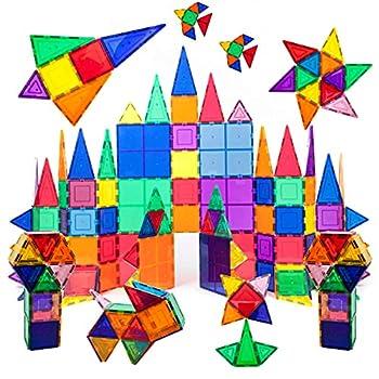 PicassoTiles 100 Piece Set 100pcs Magnet Building Tiles Clear Magnetic 3D Building Blocks Construction Playboards Creativity beyond Imagination Inspirational Recreational Educational Conventional
