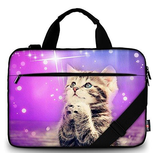 AUPET Schultertasche/Umhängetasche für Laptop, Laptop, Laptop, Laptop, Laptop, Tablet, Griff Purple Wish Cat for 11