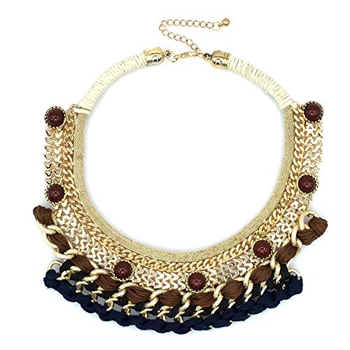 RQZQ Ketting grote halsketting Bohemia Woven Bead Chunky Choker Exagerable halsketting dames modesieraad
