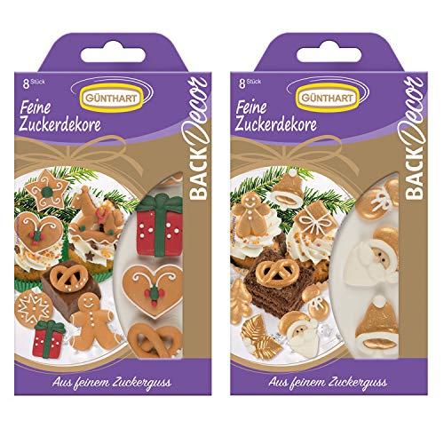 BackDecor Weihnachtliche Zuckeraufleger | Weihnachtsmann | Geschenk | Schaukelpferd | Sterne | Lebkuchenmännle