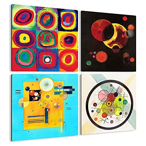 Giallobus - 4 Cuadrados de Paneles múltiples - Vassily Kandinsky - Las Obras más Bellas de Kandinsky - Colección 5 - Madera de MDF - 29,7X29,7-4 Piezas.