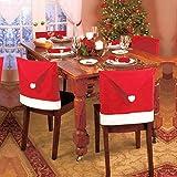 Han Shi Santa Hat Chair Covers, Christmas Decor Dinner Chair Cloth Xmas Cap Sets Bag (L, Red)