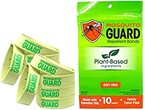 Mosquito Guard Repellent Bands/Bracelets (10 Pack) Made with Natural Plant Based Ingredients - Citronella, Lemongrass Oil....