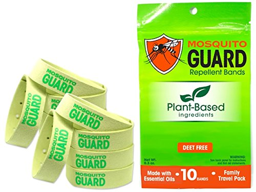 Mosquito Guard Repellent Bands/Bracelets (10 Pack) Made with Natural Plant Based Ingredients - Citronella, Lemongrass Oil. DEET Free