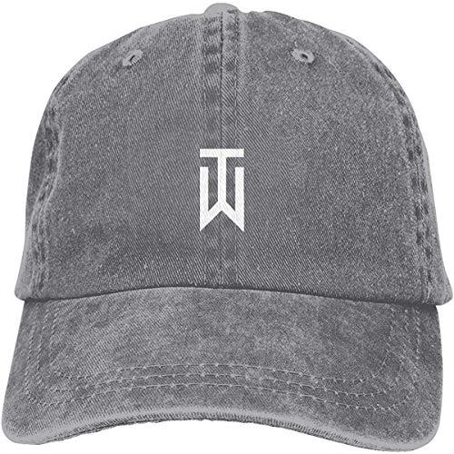 Qhghdgysd Unisex Tiger_Woods_Logo Retro Cowboy Hat Sports Baseball Cap Adjustable Classic Cotton Adult Hat for Man Women,Gray,One Size