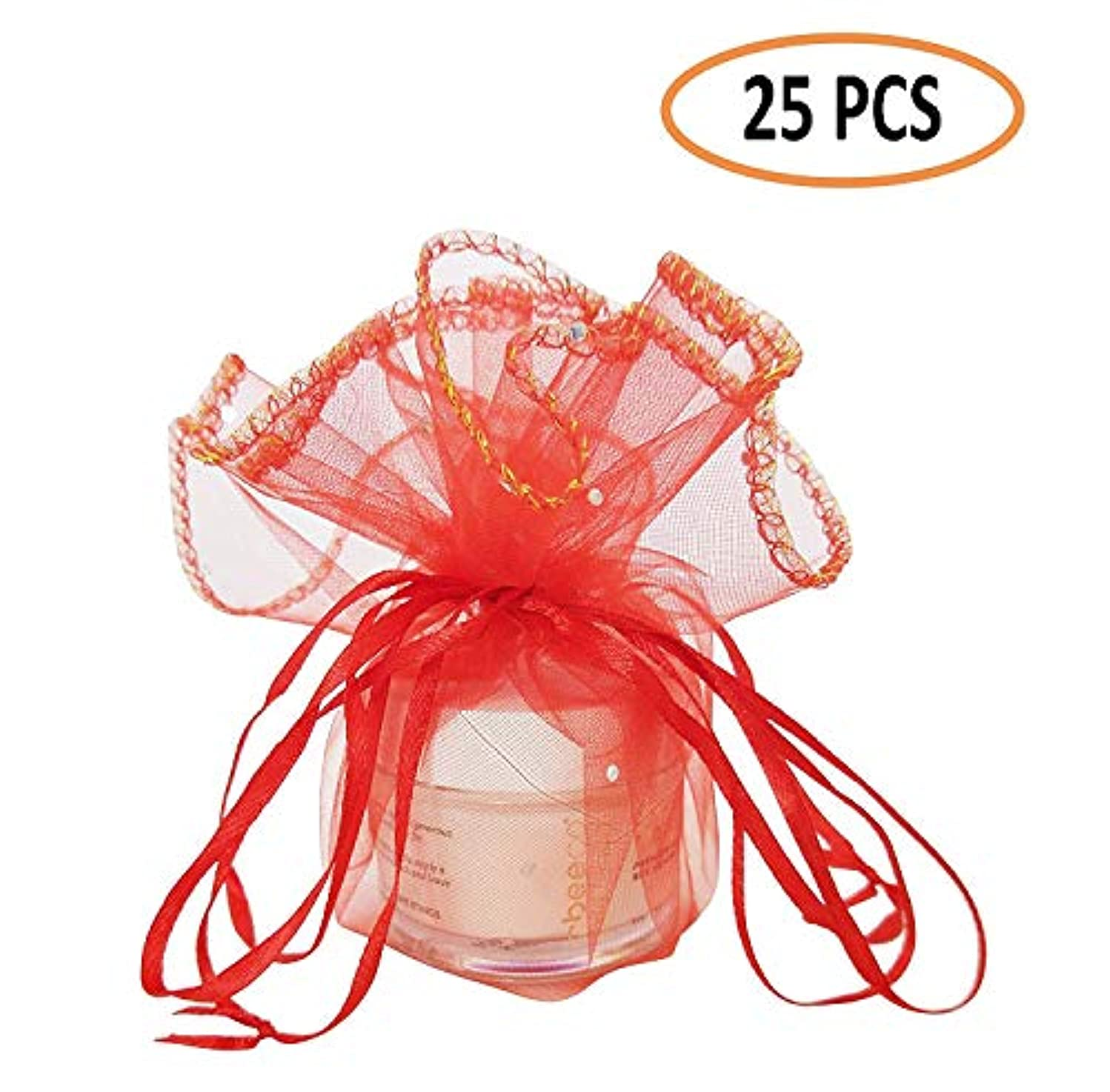 Colorful Organza Gift Bag, Special Drawstring Pouches for Travel Festival Wedding Party Favor Gift Bag with Unique Circular Design (25 PCS)