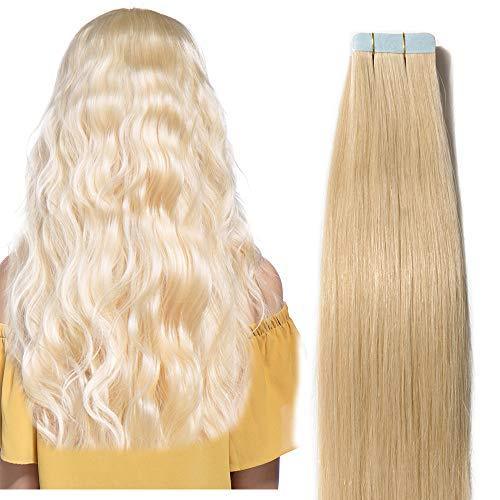 40cm Extesnion Capelli Veri Biadesivo Adesive 20pcs 50g Tape in Remy Human Hair Extensions Seamless Invisibile Naturali Lisci #613 Biondo Chiarissimo