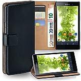 MoEx Premium Book-Hülle Handytasche passend für Sony Xperia Z1 | Handyhülle mit Kartenfach & Ständer - 360 Grad Schutz Handy Tasche, Schwarz