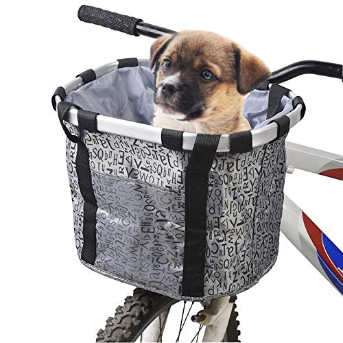 Hamiledyi Dogs Carrier Bike Basket - Perfect Removable Puppy Front Bycicle Basket for Bike - Pet Cat...