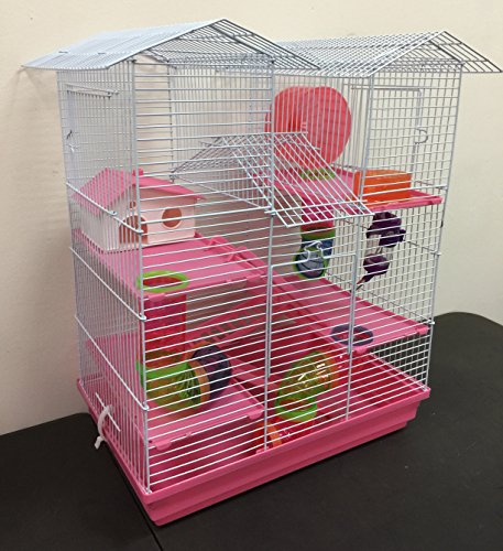 New Twin Tower Large Crossing Tube Habitat Syrian Hamster Rodent Gerbil Mouse Mice Rat Wire Animal Cage (Pink)