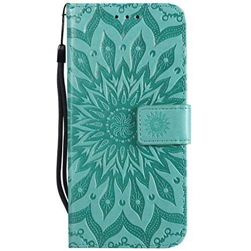 Ysimee Coque Compatible avec LG G7 ThinQ Fleur Portefeuille en Cuir Etui de Protection avec Fentes de Cartes Fermeture Magnétique Fonction Stand Case Couverture à Rabat Housse,Vert