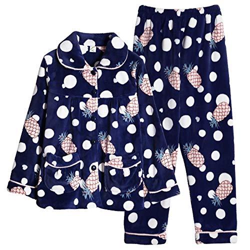DFDLNL Conjuntos de Pijamas para Mujer, Ropa de Dormir de Invierno, Toalla de hogar de Ocio, Pijama cálido de Franela de Manga Larga para niñas, Ropa de Dormir XXL