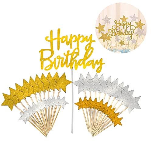 Adomi パーティー飾りセット 誕生日 ケーキトッパー Happy Birthdayとスター 花挿入カード カップケーキトッパー パーティーケーキ挿入カード ケーキデコレーション 花飾り 結婚式 雰囲気作り (1*HAPPY BIRTHDAY+40*星)