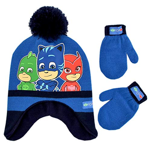 PJ Masks Boys Winter Hat Set, Catboy, Owlette and Gekko Toddler Beanie and Mittens for Kids Age 2-4, Dark Blue