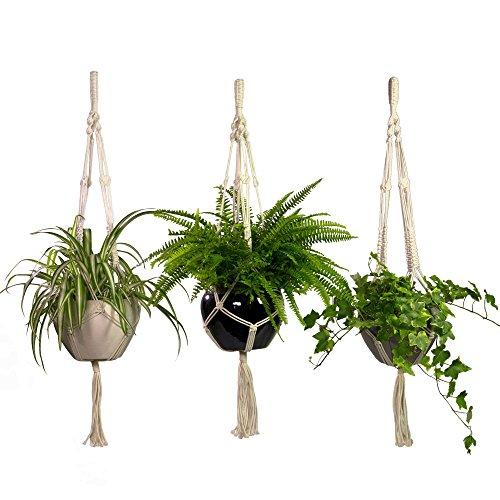 Macrame Plant Hangers 3 Pack Set Large Outdoor Indoor Planter Holders- Handmade...
