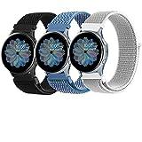 Mugust 3 Pack Correa Compatible con Samsung Galaxy Watch Active 2, 20mm Nylon Pulseras de Repuesto para Samsung Galaxy Watch...