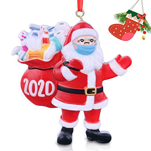 SOOMEI 2020 Christmas Ornaments Quarantine Santa Claus Wearing Face Mask Christmas Tree Decoration Hanging Pendant Decor Xmas Unique Keepsake Ornaments for Family Personalized Creative Gift (1pc, A)