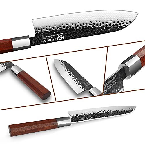 Santoku Knife 7 inch Kitchen Knife Japanese Chef Knife with w/octagon Ebony Wood Handle,Forged German High Carbon Steel Asian Vegetable Knife - Keemake