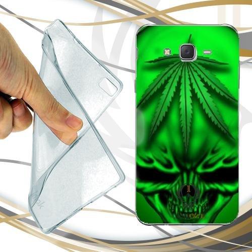 Custodia Cover Case Marijuana Skull Green per Samsung Galaxy J3 2016