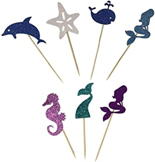 PROPARTY DIY Mermaid Mermaid Tail Sea Horse Starfish Whale Dolphin Cake Cupcake Toppers Picks for Birthday Wedding Baby Shower Ocean Themed Party Decorations 48 PCS