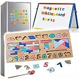 Zaaqio 3 en 1 Rompecabezas Montessori Magnéticos de Madera para Niños Pequeños Juegos Educativos Magnéticos para Niños de 4 A 5 Años