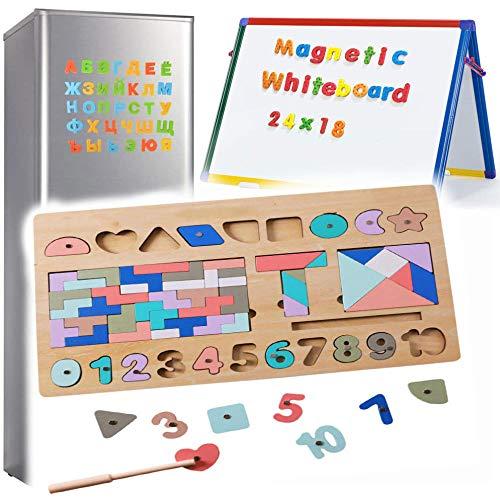 Zaaqio 3 en 1 Juegos de Matematicas Magnéticos de Madera para Mujeres Numeros Scrabble Madera Magnéticos para 1 2 3 Años