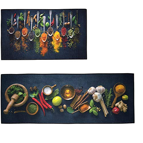 """UpNUpCo Artistic and Colorful Kitchen Rugs Kitchen Mats for Floor Non Slip Kitchen Rugs and Mats Kitchen Mat Set Farmhouse Kitchen Rugs and Mats Kitchen - Spicy Art - 2 Pieces - 30""""x17"""" + 47""""x17"""