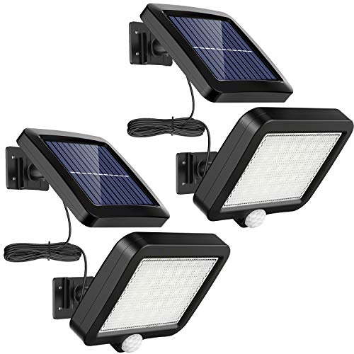 Lot de 2 lampes solaires dextérieur MPJ 56 LED avec détecteur de mouvement, étanchéité IP65, angle déclairage 120°, applique murale solaire pour jardin avec câble de 16,5 m