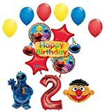 Cookie Monster and Ernie 2nd Birthday Party Supplies and Balloon Bouquet Decorations