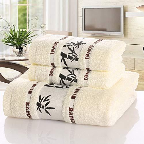 IAMZHL Juego de Toallas De Fibra de bambú, Toallas De baño para el hogar para Adultos, Toalla de Cara, ToallasDe baño de Lujoabsorbentes Gruesas,Toalha De Praia-White-1-2pc34x75-1pc70x140