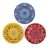 Ayennur Turkish Decorative Plates Set of 3-7.08 Inch(18cm) Handmade Ceramic for Wall Hanging Home Decor