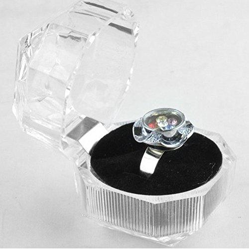 tiantianchaye 1 unidad organizador de joyas anillo pendiente acrílico caja de regalo almacenamiento transparente