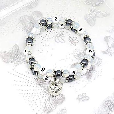 Bracelet d'allaitement perles opalite et verre nacrées/grossesse, allaitement, cadeau naissance