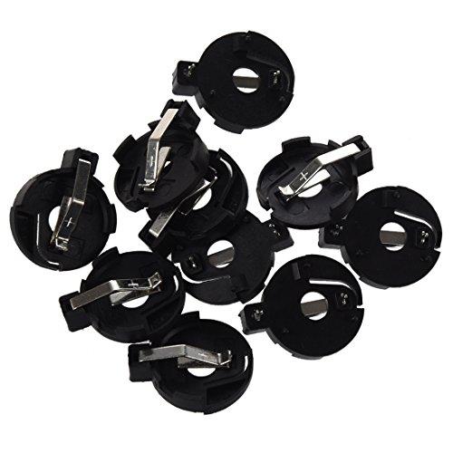 Gfhrisyty CR2016 2025 2032 Moneda botón batería titular zócalo negro 10 piezas