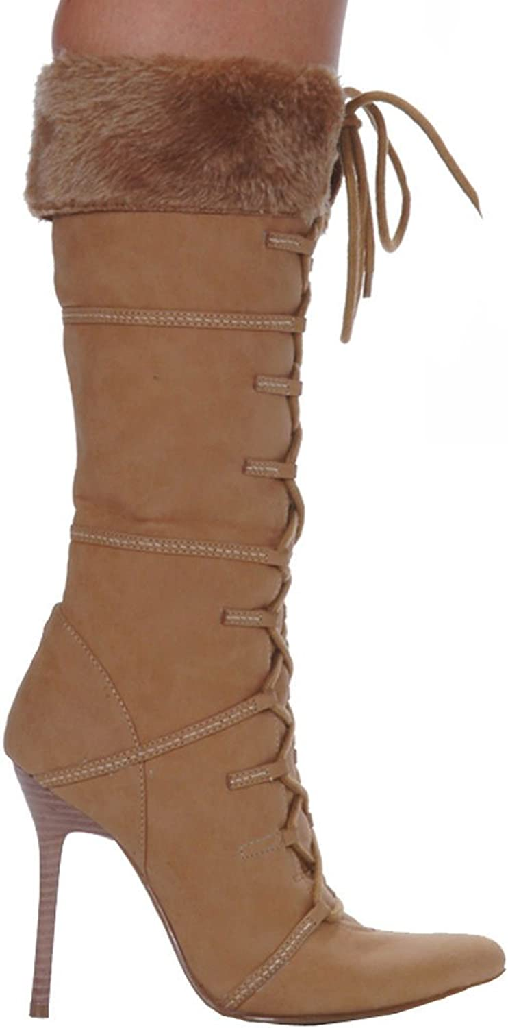 Women's shoes 4 Inch Heel Knee High Boot With Fur (Tan;9)