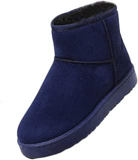 Inlefen Women's Large size Snow boots Winter flat Plus velvet Warm shoes