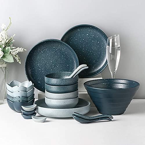 De vajilla de cerámica, vajilla de cerámica, 28 piezas de vajilla de esmalte esmerilado retro  Tazón de porcelana para cereales y plato para bistec de mezcla y combinación de dos colores para restaur