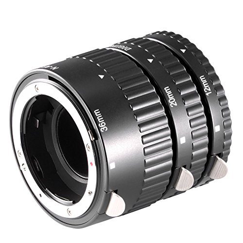 Neewer Set di Tubi di Prolunga Macro con Messa a Fuoco Automatica da 12 mm, 20 mm, 36 mm per Fotocamere Reflex Digitali Nikon e Serie di Obiettivi Nikkor AF, AF-S, D, G e VR (Metallo)