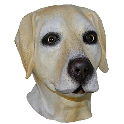Hengyutoy Mask gelbgolden Labrador Voller Kopf Latex Hund Maske Kostüm Halloween Tier Hunde