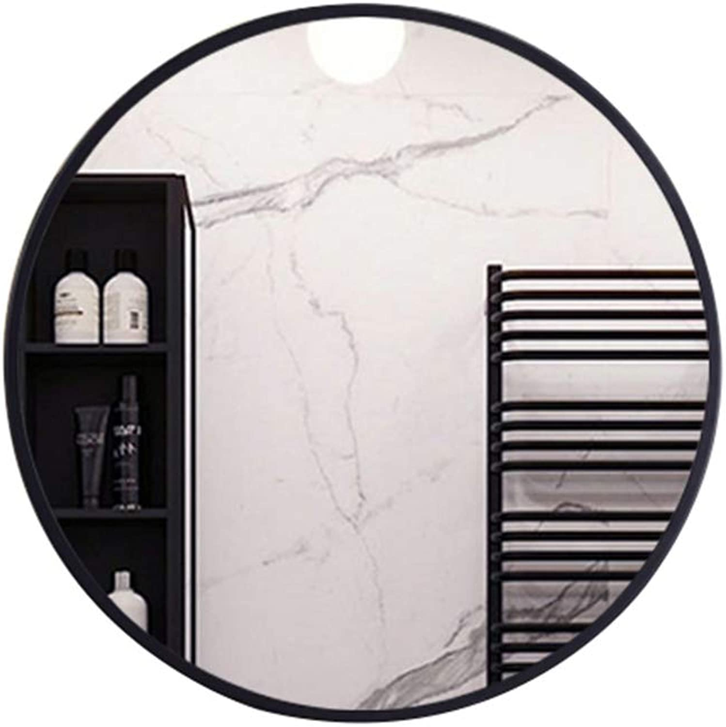 Nordic Round bathroom mirror, Black Wrought Iron Frame, Explosion-Proof Wall-Mounted Bedroom Living Room HD Makeup Mirror