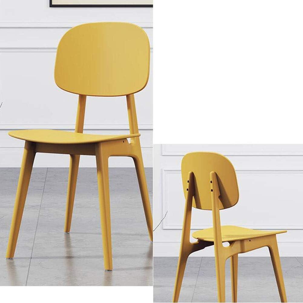 DALL Chaise De Salle À Manger Chaise De Maquillage Plastique Chaise De Dossier Moderne Chaise De Café De Loisirs Cuisine Restaurant 42x50x80cm (Color : Black) Yellow